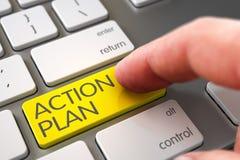 Knapp för handlingsplan för handfingerpress 3d Arkivbild