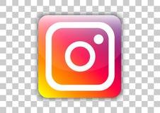 Knapp för Instagram social massmediasymbol med symbol inom arkivbild