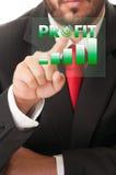 Knapp för klick för affärsman som aktiverar vinstdiagrammet eller stänger Royaltyfri Bild
