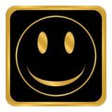 Knapp för leendeframsidacirkel Arkivfoton
