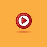 Knapp för lek för vektorillustrationrunda, startknapp på en orange bakgrund Arkivbild