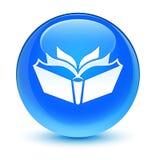 Knapp för runda för blått för översättningssymbol glas- cyan Royaltyfri Foto