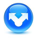 Knapp för runda för blått för aktiesymbol glas- cyan Royaltyfria Foton