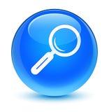 Knapp för runda för blått för förstoringsglassymbol glas- cyan Arkivbild