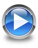 Knapp för runda för blått för leksymbol glansig Arkivbild