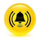 Knapp för runda för guling för larmsymbol glas- Arkivbild