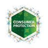 Knapp för sexhörning för gräsplan för modell för växter för konsumentskydd blom- stock illustrationer