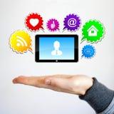 Knapp för symboler för nätverk för affärspratstund social Arkivfoton