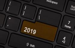 Knapp för text 2019 Arkivfoto
