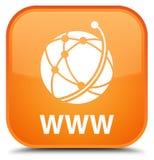 Knapp för WWW (symbol för globalt nätverk) special apelsinfyrkant Royaltyfria Foton