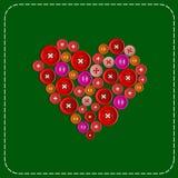 Knapp-hjärta Bakgrundsbild Rött att göra grön Plast- knappar som sys med den vita tråden vektor Stock Illustrationer