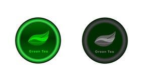 Knapp med gröna teblad stock illustrationer