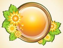 Knapp med gula blommor Vektor Illustrationer