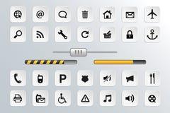 Knapp- och symbolsvektoruppsättning för rengöringsduk Arkivbilder