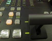 Knapp på kontrollbordtelevisionutrustningen Royaltyfria Foton