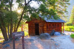 Knapp's Cabin. Rustic old wood shingle cabin in King's Canyon National Park, California, United States Stock Images