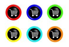 knappar cart shoping Royaltyfri Bild