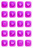 knappar färgade glansig rosa rengöringsduk Royaltyfri Fotografi