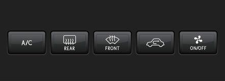 Knappar för bilinstrumentbrädasvart royaltyfri illustrationer