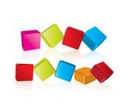 knappar för kub 3d Arkivfoton