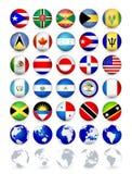 Knappar för rengöringsduk för Americas landsflaggor med jordklot vektor illustrationer