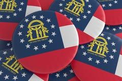 Knappar för USA-stat: Hög av den Georgia Flag Badges 3d illustrationen royaltyfri illustrationer