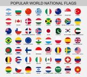 Knappar för världsnationsflaggarunda vektor illustrationer