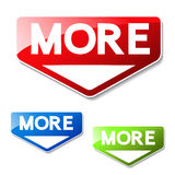 knappar för website eller app Knapp - mer Rött, grönt och blått symbol av pilen Det kan använda text läste mer, lär mer, nedladda Royaltyfri Bild