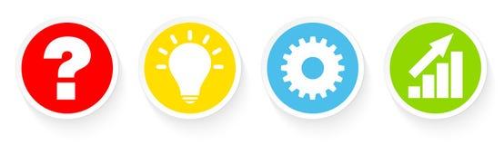 Knappar ifrågasätter idéarbete och framgångfärg stock illustrationer