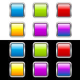 knappar inramniner glansigt metalliskt Fotografering för Bildbyråer
