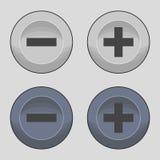 Knappar plus eller negativ symboler vektor illustrationer