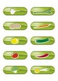 knappar ställde in vektorgrönsaker Royaltyfri Fotografi