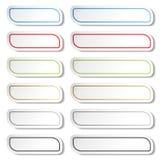 Knappar Svärta, göra grön, slösa, guld-, grå färger och röda linjer på vita enkla klistermärkear, rektangel med rundade hörn stock illustrationer