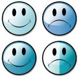 knappar vänder lyckliga den olyckliga setsmileyen mot stock illustrationer