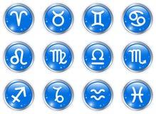 knappcirkeln undertecknar zodiac Arkivfoto