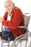 Knappe bejaarde in rolstoel verticaal Royalty-vrije Stock Foto