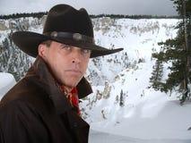 Cowboy in de winter Royalty-vrije Stock Foto's