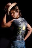 Knappe cowboy met terug geïsoleerdes lichaamskunst Stock Foto
