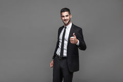 Knappe elegante mens op grijze achtergrond royalty-vrije stock foto's
