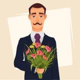 Knappe heer in kostuum met het boeket die van de snorholding van wildflowers, op een datum met zijn geliefd gaan royalty-vrije illustratie