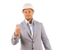 Knappe Ingenieur Showing Thumbs omhoog Royalty-vrije Stock Afbeeldingen