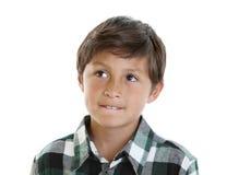 Knappe jonge jongen in plaidoverhemd stock fotografie