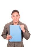 Knappe jonge mannelijke proef het dragen groene eenvormig Royalty-vrije Stock Foto's