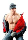 Knappe jonge mens met naakt torso royalty-vrije stock afbeelding