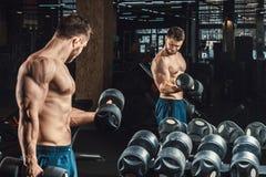 Knappe jonge mensen opheffende domoren en het werken aan zijn bicepsen voor een spiegel die aan zijn bicepsen eruit zien stock afbeelding