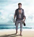 Knappe jonge piraat op het strand, blootvoets stock foto's