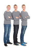 Knappe jongens in gestreepte overhemden Royalty-vrije Stock Foto's