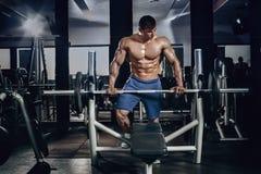 Knappe machts atletische mens die op dieet omhoog pompend spieren met domoor en barbell opleiden De sterke bodybuilder, perfectio Royalty-vrije Stock Foto
