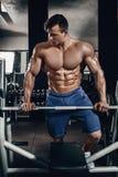 Knappe machts atletische mens die op dieet omhoog pompend spieren met domoor en barbell opleiden De sterke bodybuilder, perfectio Stock Afbeelding