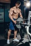 Knappe machts atletische mens die op dieet omhoog pompend spieren met domoor en barbell opleiden De sterke bodybuilder, perfectio Royalty-vrije Stock Afbeeldingen